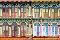 Colorful windows of a colonial house in Singapore. Architecture and travel photography by Delphimages. Singapore Art Museum, Singapore City, Wall Art Prints, Poster Prints, Posters, South Beach Hotels, Colonial Architecture, Colorful Wall Art, Canvas Home