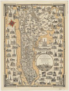 Author: Chase, Ernest Dudley Date: 1939 Short Title: A pictorial map of that portion of New York City known as Manhattan Publisher: Ernest Dudley Chase Publisher Location: Winchester, Mass. Manhattan Map, New York City Manhattan, Ny Map, New York City Map, Vintage Maps, Vintage Wall Art, Pictorial Maps, Nyc, Map Art
