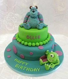 - * Monsters Inc  - Sulley and Mike two tiered birthday cake, models totally edible made from sugar paste , made by Verity's creative cakes .