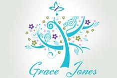 tree logo design, wimpsical logo, butterfly logo, premade logo