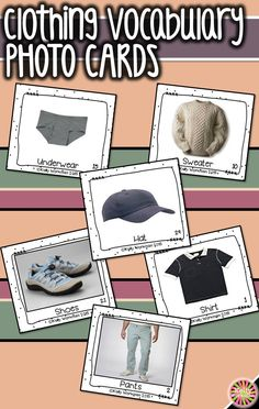 Looking for materials to help students learn basic nouns? Develop their vocabulary skills by using photo flashcards which are perfect for speech therapy, special education, autism, ELL, and Preschool. Click to view this clothing vocabulary set and to download a free guide for flashcard games and activities!