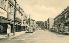 Bristol CT Connecticut postcard, 1930's cars, Main Street, Soda, Candy, Drugs