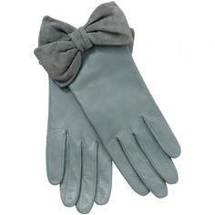 John Lewis Bow Detail Gloves, Vintage Blue