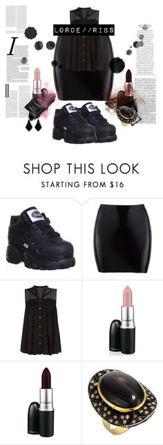 """""""""""Ribs"""" // Look inspired by Lorde [ Dark, Goth, Black, Gold, Music ]"""" by cyber-death ❤ liked on Polyvore featuring VILA, MAC Cosmetics, Kendra Scott, Linda Horn and Oris"""