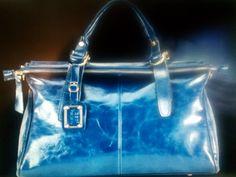 Cowhide Leather Handbag/ Blue