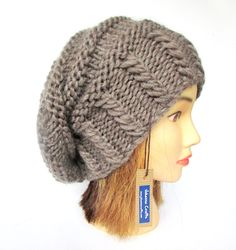 Slouchy beanie hat taupe slouch hat chunky knit slouchy hat Irish knit accessories for women with button warm winter hat wool birthday gift by Johannahats on Etsy