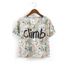 Round Neck Floral & Climb Print Short Sleeve Cropped Tee ($22) ❤ liked on Polyvore featuring tops, t-shirts, cotton t shirt, short sleeve tee, crop tee, graphic crop tops and white crop top