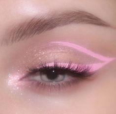 #dicas #makeup Glitter Makeup Looks, Makeup Eye Looks, Eye Makeup Art, Eyeshadow Makeup, Hair Makeup, Edgy Makeup, Pink Makeup, Cute Makeup, Pretty Makeup