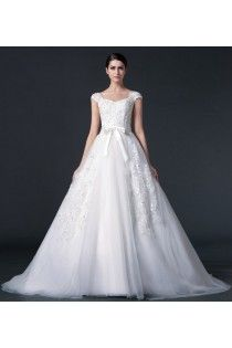 Modest A-line Cap Straps Applique Wedding Dress With Ribbon Bow Front