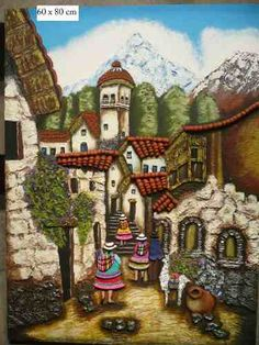 paisajes de puno imagenes - Buscar con Google Fabric Art, Fabric Painting, Pictures To Paint, Art Pictures, Mexican Pictures, Straw Art, Peruvian Art, Latino Art, Clay Art Projects