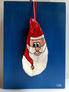 Oyster shell santa ornament hand painted beach by beachseacrafts, $7.00