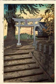 Yuzora, Nippori Suwa jinja (Evening sky at Suwa shrine, Nippori), by Kasamatsu Shiro, 1932