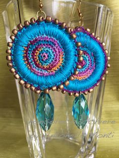 Hoop earrings crochet/ beads and pendant /  by nonsolochiacchiere