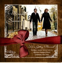 Rustic Square Photo Wedding Invitation - Dark Wood, Red & Cream