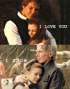 Leia and Han Solo. I love you, I know ❤ Carrie Fisher & Harrison Ford. Carrie Fisher, Star Wars Brasil, Han And Leia, Han Solo Leia, Star Wars Personajes, The Force Is Strong, Love Stars, Geek Girls, Long Time Ago