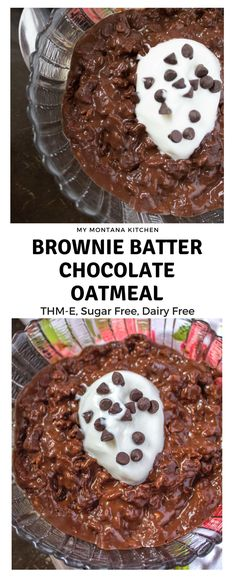 Brownie Batter Oatmeal (THM-E, Sugar Free, Dairy Free)