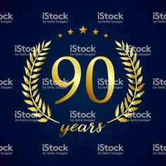 90 years old luxurious icontype. Year Old, Weather, Textbook, Vectors, Lush, One Year Old, Age, Weather Crafts