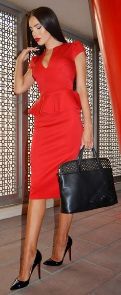 Red Suit Chic Style by Laura Badura Fashion