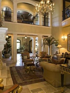Living Room of country music star Alan Jackson's Tuscan-style Nashville estate