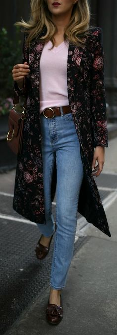 4 Coats Every Girl Should Own // Floral jacquard longline statement coat, baby pink v-neck sweater, light-wash straight-leg jeans, classic loafers and a structural leather handbag {Smythe, Nordstrom, JW Anderson, winter coats, winter jackets, statement coats, fall fashion, fashion blogger, classic style}