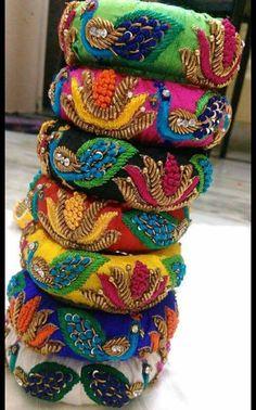 Silk Thread Bangles Design, Silk Bangles, Bridal Bangles, Thread Jewellery, Jewellery Designs, Pakistani Jewelry, Indian Jewelry, Saree Tassels, Bohemian Accessories