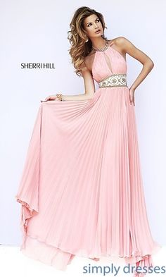 Sherri Hill Halter Top Pleated Prom Dress 11251 at SimplyDresses.com