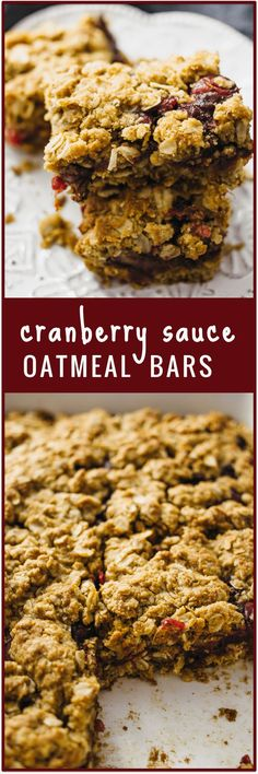 Cranberry sauce oatmeal bars - Got some leftover cranberry sauce from Thanksgiving? This recipe shows you how to use it up to make these amazing cranberry sauce oatmeal bars with brown sugar that are great for breakfast or dessert! - http://savorytooth.com