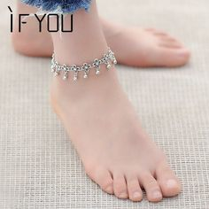 Cheap fashion anklet, Buy Quality anklets for women directly from China bracelet foot Suppliers: IF YOU Hot Vintage Bracelet Foot Jewelry Pulseras Retro Anklet For Women Girl Ankle Leg Chain Charm Bracelet Fashion Jewelry Silver Anklets Designs, Anklet Designs, Mehndi Designs, Silver Ankle Bracelet, Ankle Jewelry, Ankle Bracelets, Beach Bracelets, Silver Ring, Silver Earrings