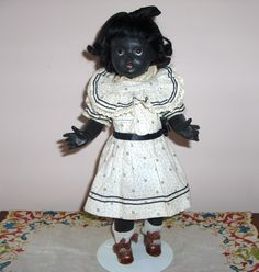 "13"" French SFBJ Black Googlie c.1910.  A very Rare Bisque Doll from this Company."