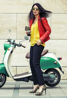 Ray Ban Shades, Massimo Dutti Leather Jacket, Mango Top, Zara Trousers, Dune Heels, Clare Vivier Clutch