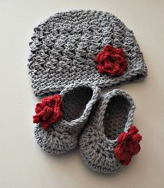 Gray & red ? New Baby Gift gray and red hat and booties with rose size 0 to 3 months.