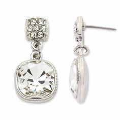 JCP Monet Crystal Silver-Tone Drop Earrings