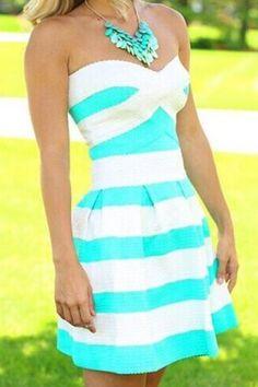Elegant Strapless Sleeveless Striped Dress For Women