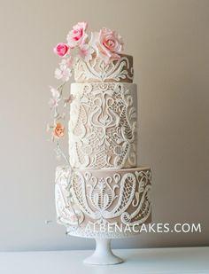 Lace cake by Sweet Temptations- Custom Cakes by Albena Cake decorating ideas Beautiful Wedding Cakes, Gorgeous Cakes, Pretty Cakes, Amazing Cakes, Unique Cakes, Elegant Cakes, Modern Cakes, Gateaux Cake, Wedding Cake Inspiration
