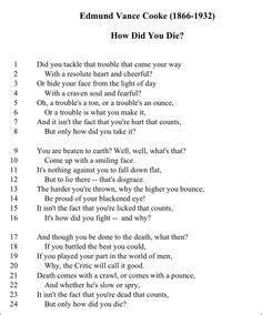How Did You Die- Edmund Vance Cooke