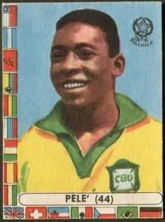 Pele of Brazil. 1962 World Cup Finals card. Football Stickers, Football Cards, Baseball Cards, Diego Armando, World Cup Final, Football Pictures, Fifa World Cup, Finals, Chile