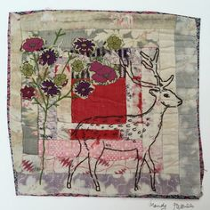 Deer. Embroidered and Applique unframed  on to by MandyPattullo