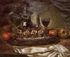 Silver teapot and cake on a plate by @artistdechirico #neobaroque