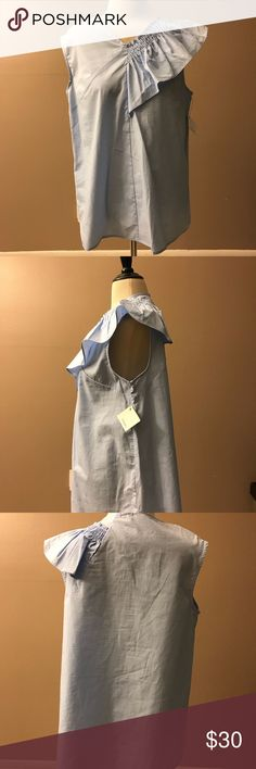 Halogen gathered ruffle top.  NWT. Halogen gathered ruffle top in French blue. 100% cotton.  Size Small Petite. Halogen Tops Blouses