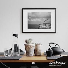 A dream of liberty: With a seagull, a wide horizon, cliffs and the ocean a feeling of freedom moves in - the rest is done by the beautiful black and white photography. 🕊️ #homedecoration #naturelover #poster Unique Wall Decor, Unique Art, Magical Home, Shape Posters, Black And White Photography, Giclee Print, Liberty, Freedom, Rest