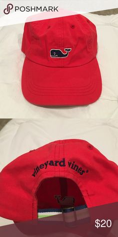Brand new red adjustable Vineyard Vines hat Brand new red Vineyard Vines hat. Stitched navy blue with white outline whale logo on front and blue/green striped adjustable strap on the back with Vineyard Vines stitched in navy. Vineyard Vines Accessories Hats