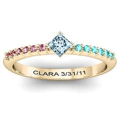 I think I like this one more then the infinity family ring. Mothers ring with our birthstones. Could also say something like Forever Family (I wish David and Claras were not the same but I like how this has the genuine one for Clara and false for David so it is a little different.)