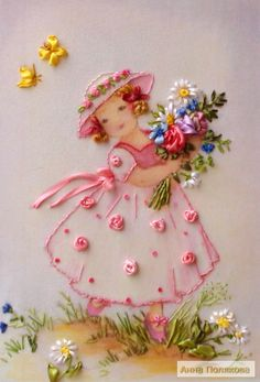 Wonderful Ribbon Embroidery Flowers by Hand Ideas. Enchanting Ribbon Embroidery Flowers by Hand Ideas. Ribbon Embroidery Tutorial, Hand Embroidery Flowers, Hand Embroidery Stitches, Silk Ribbon Embroidery, Hand Embroidery Designs, Embroidery Thread, Machine Embroidery, Embroidery Supplies, Embroidery Ideas