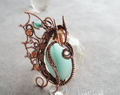 Copper necklace with wire mesh flying dragon necklace Wire Pendant, Wire Wrapped Pendant, Wire Wrapped Jewelry, Celtic Wire Jewelry, Dragon Necklace, Dragon Jewelry, Copper Necklace, Moon Necklace, Moonstone Necklace