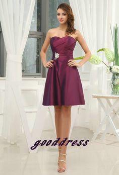 Vestido de encargo del vestido hecho a mano populares Purple tafetán moldeado acanalado hasta la rodilla formal de noche corto / Prom / Fiesta / dama de honor / de Fiesta / Cocktail