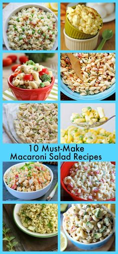 10 Must Make Macaroni Salad Recipes - including a great classic recipe + variations like avocado, spicy horseradish, bacon, deviled egg, shrimp, and a lightened up version with fresh vegetables.