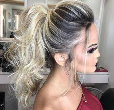 Hairstyles for long hair High Pony Hairstyle, Pony Hairstyles, Winter Hairstyles, Wedding Hairstyles, Big Hair Rollers, Hair Doo, Stylish Hair, How To Make Hair, Bridesmaid Hair