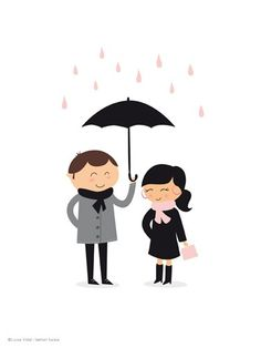 Lovely Rain print by fashionfucsia on Etsy. Man in gray coat holding umbrella over woman in black coat and pink scarf