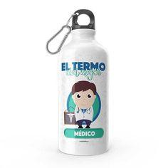 Termo - El termo del mejor médico, encuentra este producto en nuestra tienda online y personalízalo con un nombre. Water Bottle, Drinks, Social, Priest, Carton Box, Store, Crates, Musica, Working Man