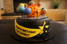 Solar System Birthday Cake With Fondant Planets